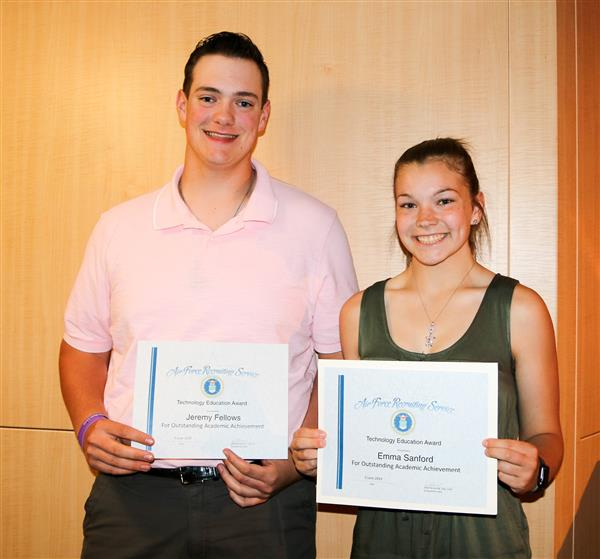 Jeremy Fellows and Emma Sanford receive the Technology Education Award