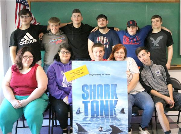 Members of Hannibal High School's entrepreneurship class gather for a group photo