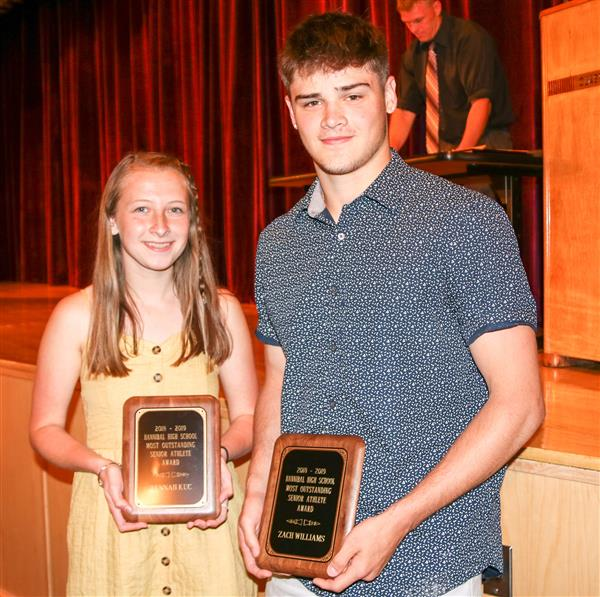 Hannah Kuc and Zach Williams (Most Outstanding Senior Athletes)